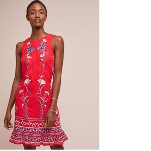 Anthropologie Lila Embroidered Shift Dress new